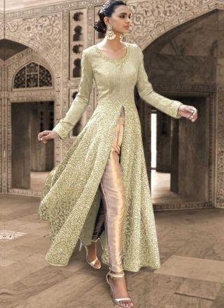 Beige Embroidery Work Lace Border Work Bhagalpuri Silk  Party Wear Salwar Kameez http://www.angelnx.com/Salwar-Kameez/Anarkali-Suits