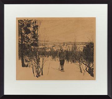 FRIDTJOF NANSEN OSLO 1861 - BÆRUM 1930  Skiløper, 1925 Litografi, 29x37 cm Signert og datert nede til høyre: Fridtjof Nansen 1925