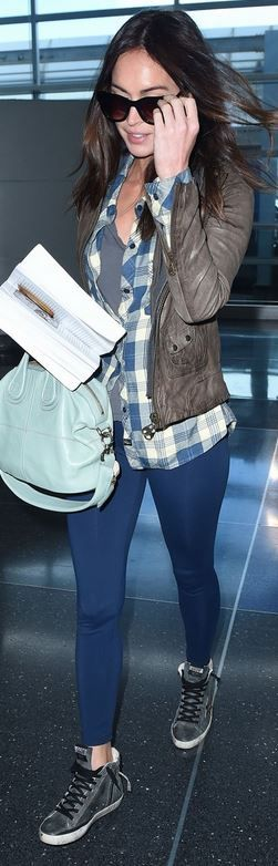 Who made  Megan Fox's blue sneakers, black sunglasses, pink plaid shirt, and handbag?