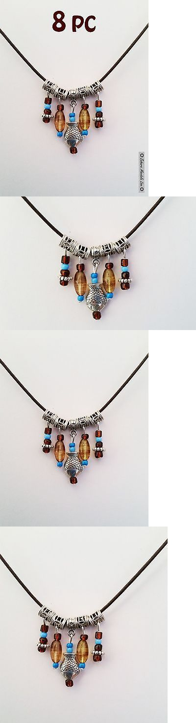 Other Wholesale Necklaces 56148: Wholesale 8Pc Handmade Necklaces And Pendant, Silver Fish Turquoise And Brown Cord -> BUY IT NOW ONLY: $40 on eBay!