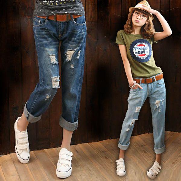 Корейский керлинг отверстие свободные прямые джинсы женская Харлан девять ярдов девять очков БФ ветер нищий штаны случайные волны
