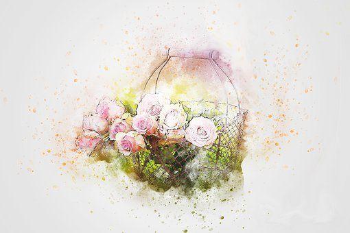 Flores, Bouquet, Cesta, Arte
