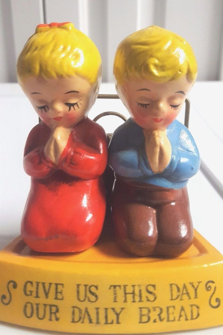 Vintage Salt Pepper Shakers Give Us This Day Our Daily Bread Praying Boy & Girl