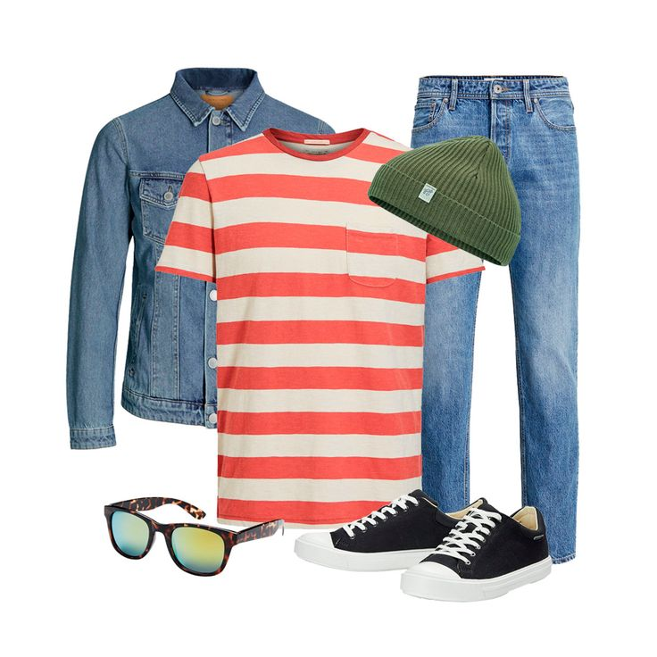 Spring look for men: blue denim jeans, blue denim jacket, a casual striped tee and cool accessories for a laid-back vintage look | JACK & JONES