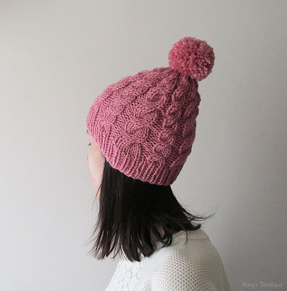 Hand Knitted Cable Hat in Rose Chunky Beanie with Pom Pom