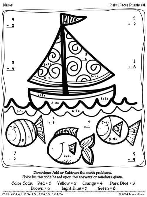 Fishy Facts ~ Color By The Code Math Puzzles To Practice Number Recognition, Basic Addition And Basic Subtractions Skills ~This Unit Is Aligned To The CCSS. Each Page Has The Specific CCSS Listed.~ This set includes 4 fish themed math puzzles to practice math skills. Perfect for Kindergarten and First Grade Remedial Math. $