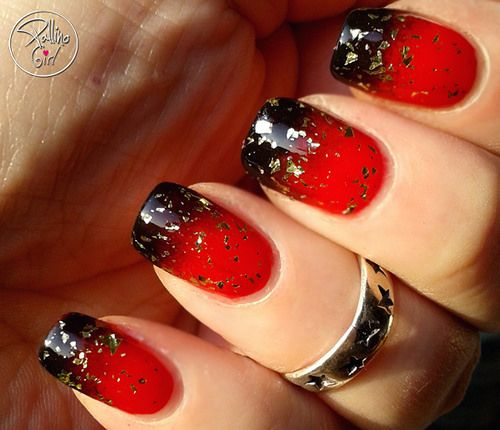 alhrayth #nail #nails #nailart Red and black ombre with gold glitter