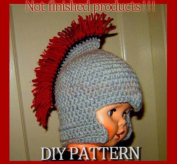 Instant Download crochet Pattern - Roman Soldier Helmet with Plume, Baby-Teenage sizes (PDF77). $3.50, via Etsy.