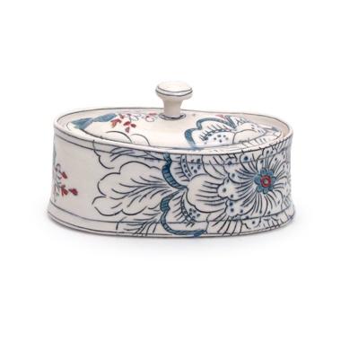 Molly Hatch's butterdish, porcelain, inlay, glaze, 2011.