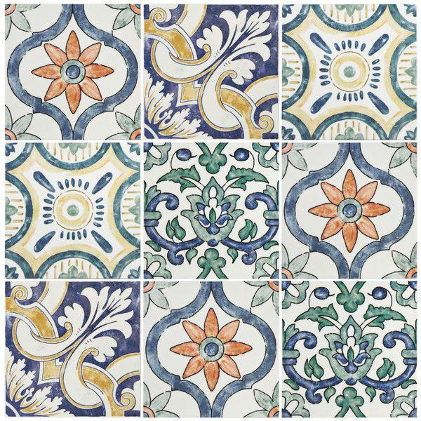 "EliteTile Avaricon 7.75"" x 7.75"" Ceramic Fieldl Tile in Gaia & Reviews | Wayfair"