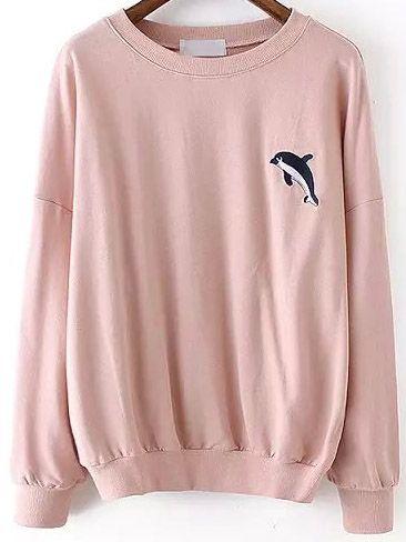 Pink Round Neck Dolphin Embroidered Sweatshirt -SheIn(abaday)