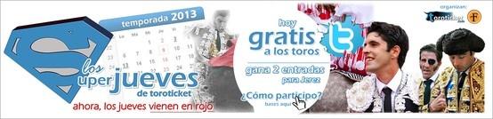 ¡SUPERJUEVES!¡Sorteamos dos entradas parala feria de Jerez de la Frontera!¡Únete a nosotros en www.twitter.com/toroticket y las entradas pueden ser tuyas!¡A los toros, por la cara!