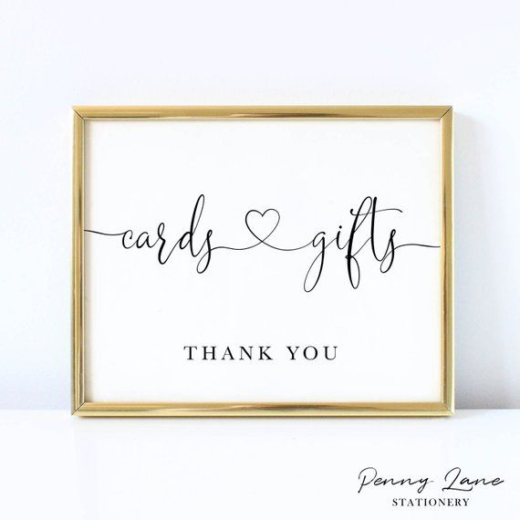 Printable Wedding Cards And Gifts Table Sign Minimalist Heart