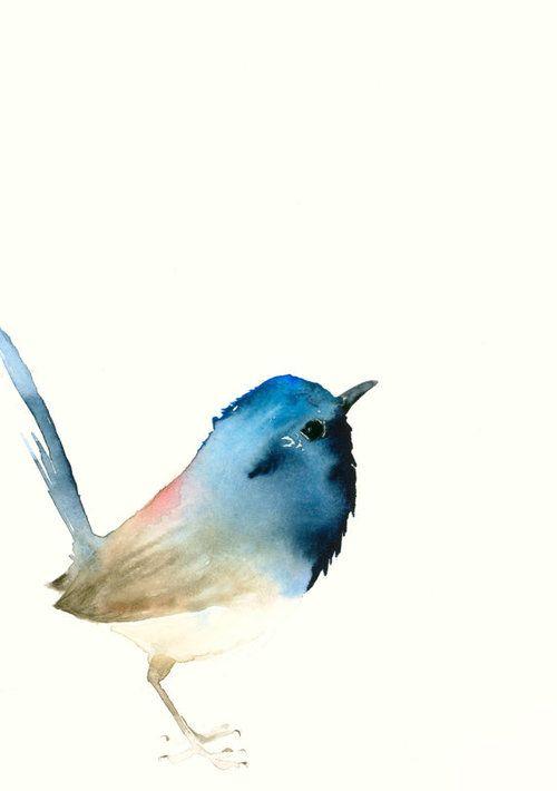 Fine Art Bird Print from Original Watercolor - Dark Blue Tiny Bird by Catherina Türk