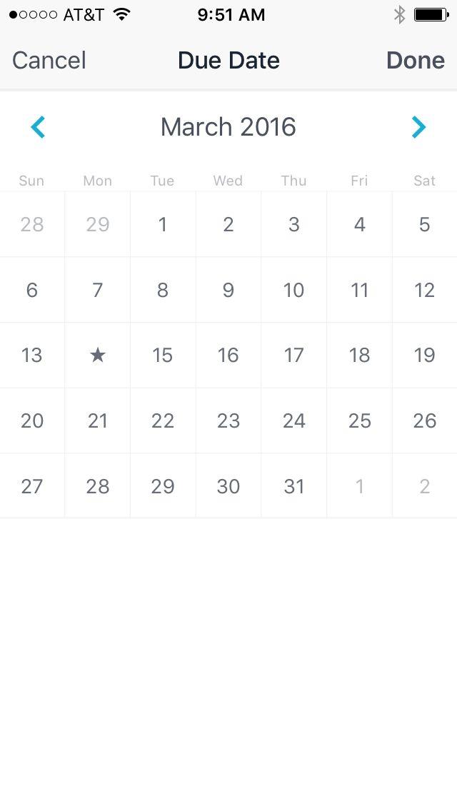 Asana Tasks mobile - calendar