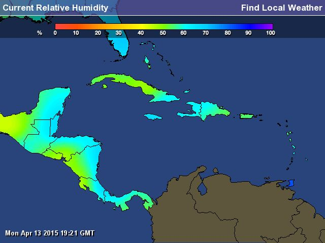 Caribbean Weather Map - Current Humidity of Caribbean - Find Local Weather