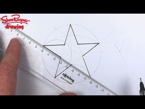 Perfect Stars are easy to draw when you know how. Let award winning illustrator, Shoo Rayner, show you how five sided stars are constructed geometrically with a compass and a ruler.