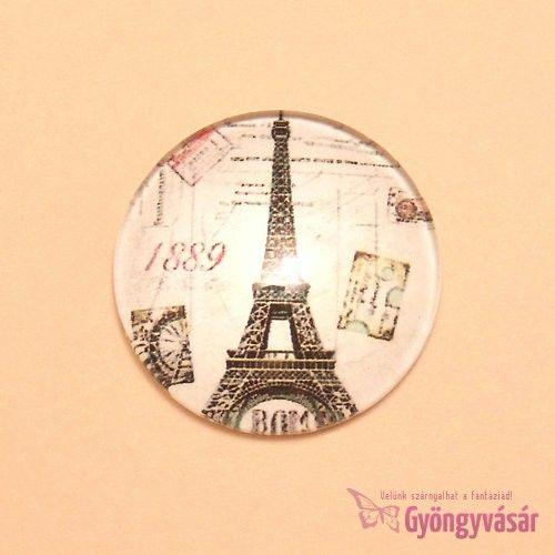 Eiffel torony mintás, 25 mm-es üveglencse • Gyöngyvásár.hu