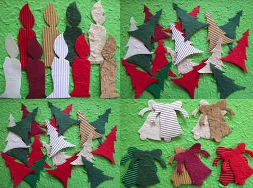 LARGE Christmas tree CANDLE bell MULBERRY PAPER diecuts MAKE TOPPERS crafty cow