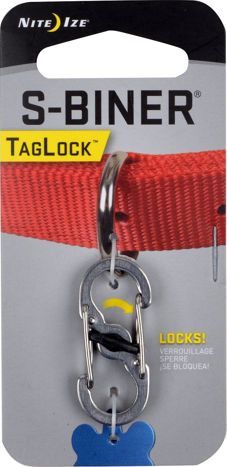 The Nite Ize S-Biner TagLock Dog Tag is an innovation on the traditional carabiner that keeps your dog's ID tags securely attached to his regular collar. It's made from heavy duty stainless steel and features double locking gates. You simply slip the tag onto one gate and attach the other gate to your dog's collar, and then twist the center lock to keep the tag in place. The Nite Ize S-Biner TagLock Dog Tag makes it easy to change or add tags without having to mess with flimsy tag hangers or…