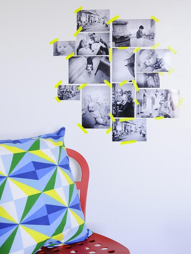 16. Neon Tape + Black-and-White Photos - 25 Ways to Dress Up Blank Walls on HGTV