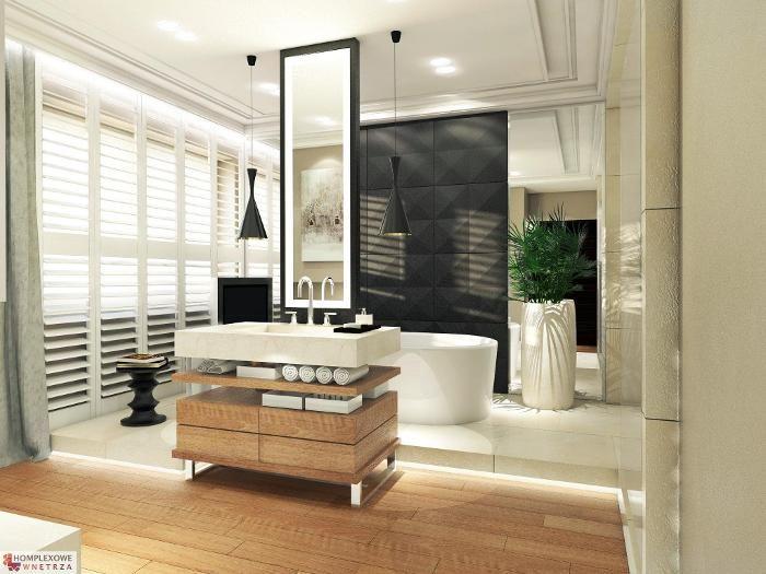 Aranżacja łazienki wystrój nowoczesny w kolorach biel, brąz, czerń - projekt wnętrza #9372994, Homplex