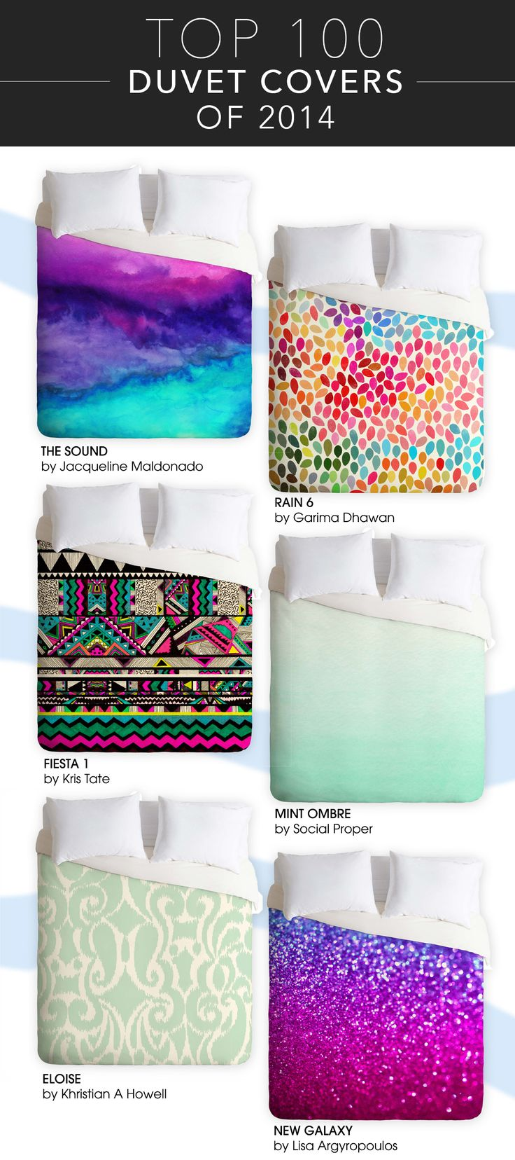 2014's most popular duvet covers are bright, patterned, and gorgeous! Here are the top 100!