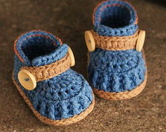 Crochet Pattern Boys Baby Booties Crochet Shoes by Inventorium