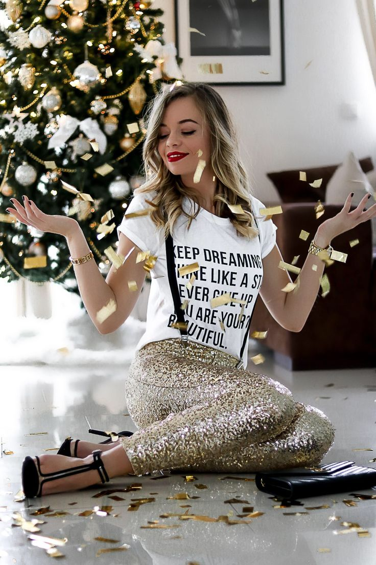 Silvester Outfit, NYE, NYE Outfit, New Year's eve outfit, Sequins, Pailletten, Sequin Pants, gold, Paillettenhose
