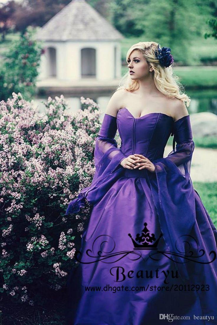 Vintage Purple Gothic Ball Gown Wedding Dresses With Cloak Removable Long Sleeve Plus Size 2018 Renaissance Celtic Medieval Bridal Gowns Wedding Dress Patterns Ball Gowns Wedding Ball Gowns Purple Wedding Dress [ 1104 x 736 Pixel ]