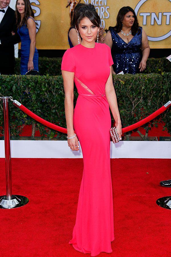 Cosmo cover girl Nina Dobrev in Elie Saab gown at 2013 SAG Awards http://www.cosmopolitan.com/celebrity/fashion/nina-dobrev-red-carpet-looks#slide-3