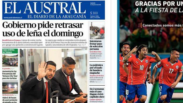 Selección Peruana: diario chileno confunde a Juan Vargas con Jefferson Farfán. June 11, 2015.