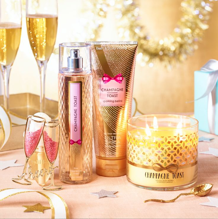 CHEERS! Your favorite Candle — Champagne Toast is NOW in Body Care! We're popping bottles of this golden & bubbly celebration!