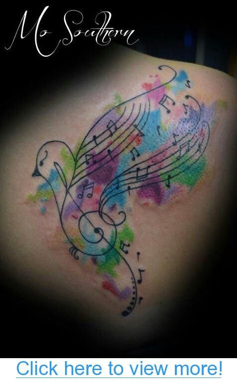 Watercolor Music Tattoo- something similar but much more realistic and dynamic