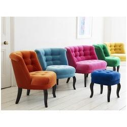 Orange, teal, grey tub chairs