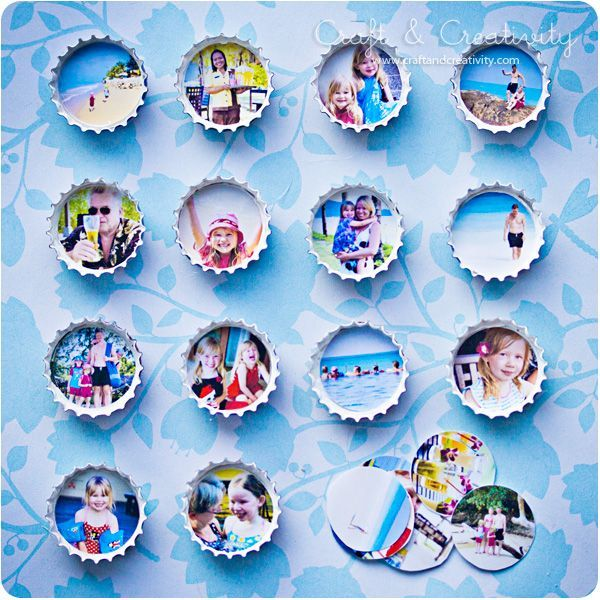 Bottle cap photo frame magnets