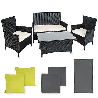 Poly Rattan #aluminium Garden #furniture 2 Chairs #bench Table Set Outdoor  Wicker, Part 91