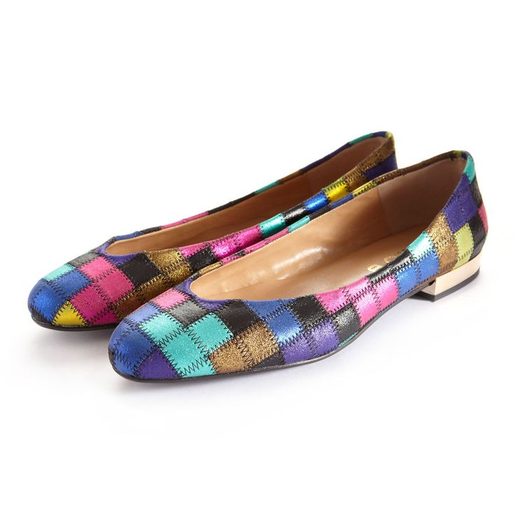 Hip Hop Flat Shoes in Tetris Leather   Ballet Flat   Flat Shoes   CLEO B