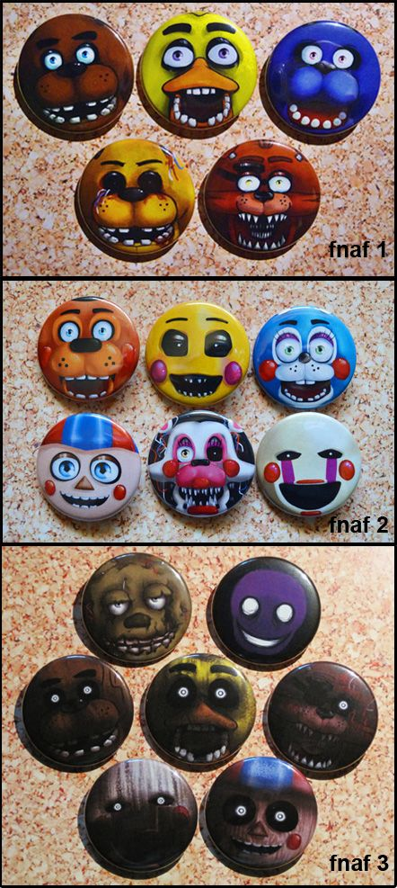 FIVE NIGHTS AT FREDDY'S 1, 2 and 3 fan art pins! Perfect for a gamer's birthday party... and all pins are $1 or less. Check it out at Golden Pressure's Etsy shop. #fanart #gaming #buttons  Set 1: https://www.etsy.com/ca/listing/219775226/five-nights-at-freddys-button-set-freddy  Set 2: https://www.etsy.com/ca/listing/219775930/five-nights-at-freddys-2-button-set-toy  Set 3: https://www.etsy.com/ca/listing/228078310/five-nights-at-freddys-3-button-set