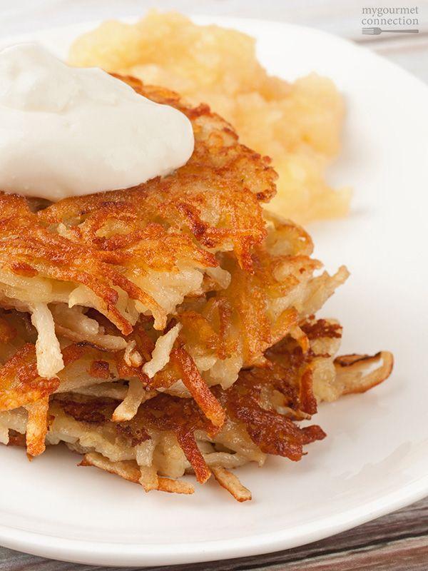 Part of a classic Hanukkah meal, these potato latkes (potato pancakes) are crispy, delicious and easy to make.