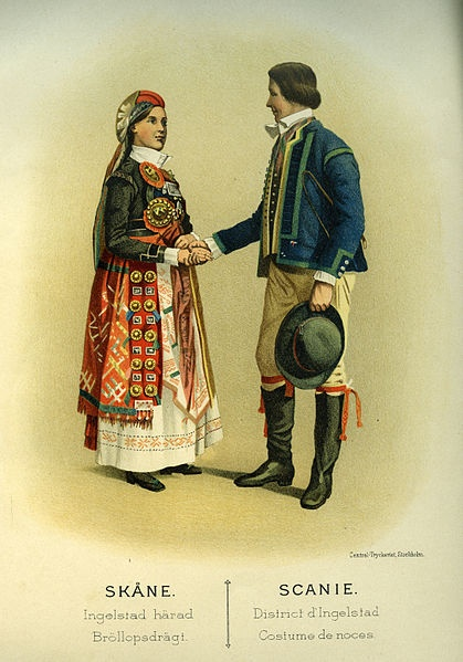 Bröllopsdräkt från Ingelstads härad, Skåne, Sverige. Date 1895 Source Thulstrup & Kramer, Afbildningar af Nordiska Drägter (1895)