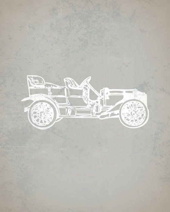 Vintage Motor Car Nursery Print Big Boy Room Car by littleredflag