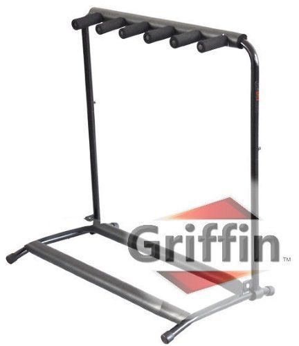 5 Five Multiple Guitar Bass Stand Holder Stage Folding Multi Rack Griffin by EDM. $29.49. Here we're featuring a 5 holding guitar stand by Griffin AP series. This deluxe multi guitar stand is a very strong and sturdy square guitar stand that can easily hold up to 5 guitars! Ideal for any guitarist, these multiple guitar stands can support all types of guitars including acoustic, electric and bass. Relax, your guitar finish is safe as this triple guitar rack is made to exactin...