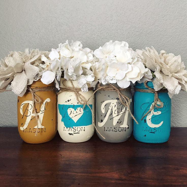 Turquoise and yellow Montana home Mason jar set | rustic home decor