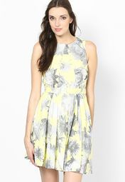 French Connection Yellow Multi Color Sleeve Less Floral Dress Online Shopping Store