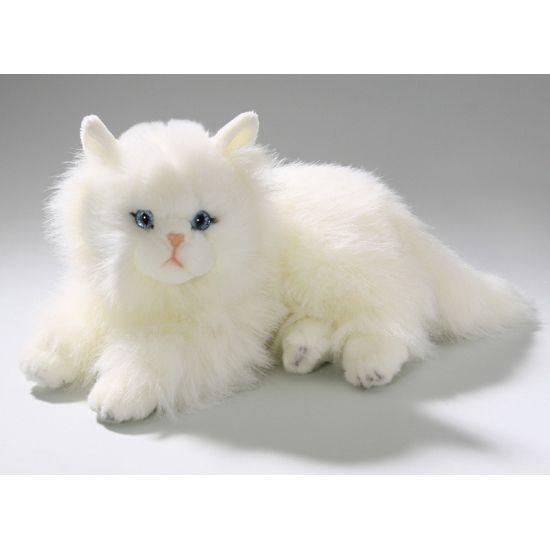 Pluche katten knuffel Perzische kat. Deze knuffel van een Perzische kat in een liggende houding heeft een lengte van ongeveer 30 cm. De knuffel is hypoallergeen, vlamvertragend en is geschikt voor kinderen vanaf 3 jaar.