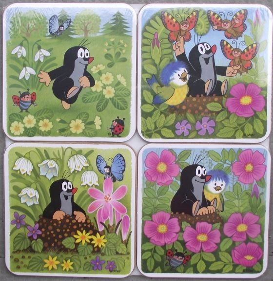Krtek Mole Maulwurf Czech Cartoon Character Cork Backed Drinks Coaster Mat Set