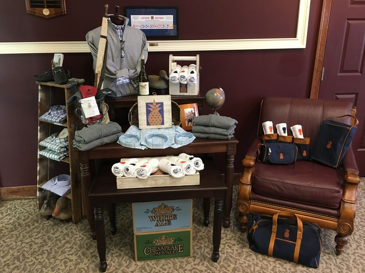 Oxford Golf with Winston Collection and Signs By The Sea golf shop display at Colonial Heritage Golf Club