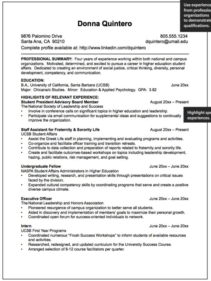 resume experience description examples