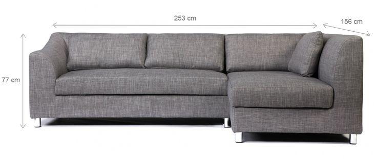 Canapé d'angle convertible gris (angle droit) MIAMI - Miliboo